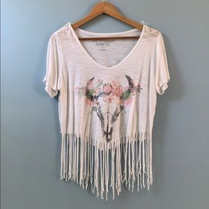 White Frill crop top with festive bull